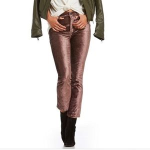 Free People Velvet Cropped Flare Pants in Taupe